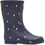 Tom Joule Jnr Roll Up Welly navy raindrops