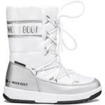 Moon Boot Jr Girl Quilted WP Weiß/Silber (White/Silver)