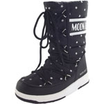 Moon Boot Jr Girl Quilted Star WP schwarz/weiß (black/white)